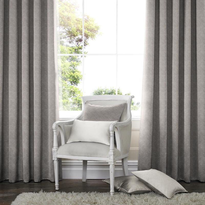 Melania Fog Deco Curtains double pleat