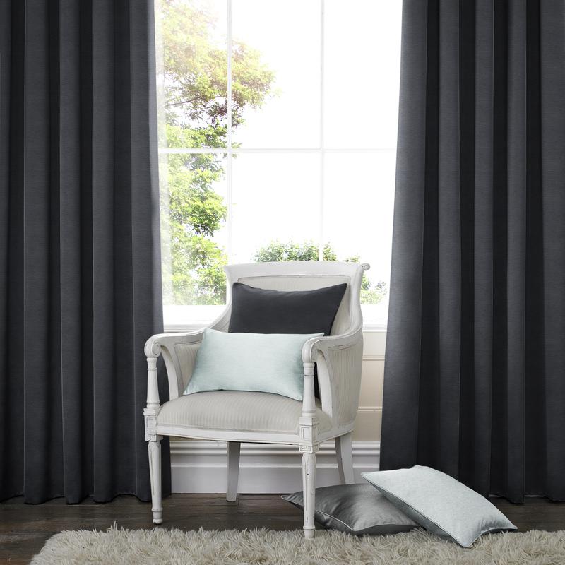 Rully Black Deco Curtains double pleat