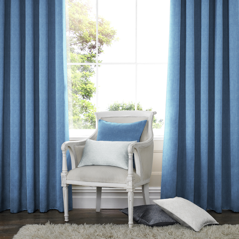 Ascona Denim Blauw Deco gordijnen - Inslagringen