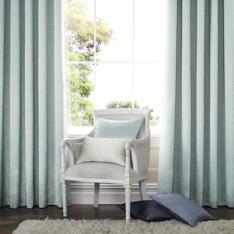 Rully Lichtgroen blauw Deco gordijnen - Inslagringen