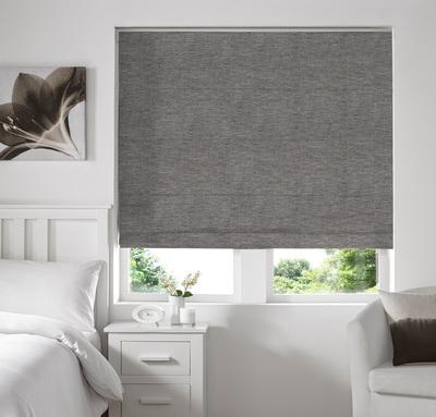 Capri Grey Deco Roman blinds