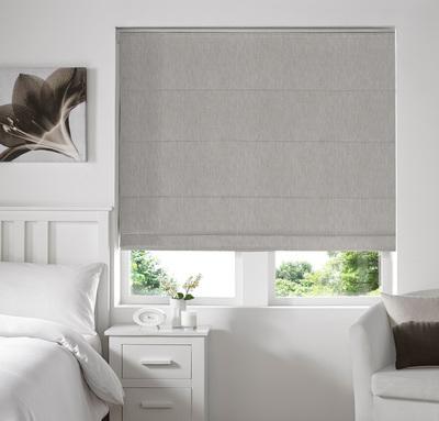 Capri Silver Deco Roman blinds
