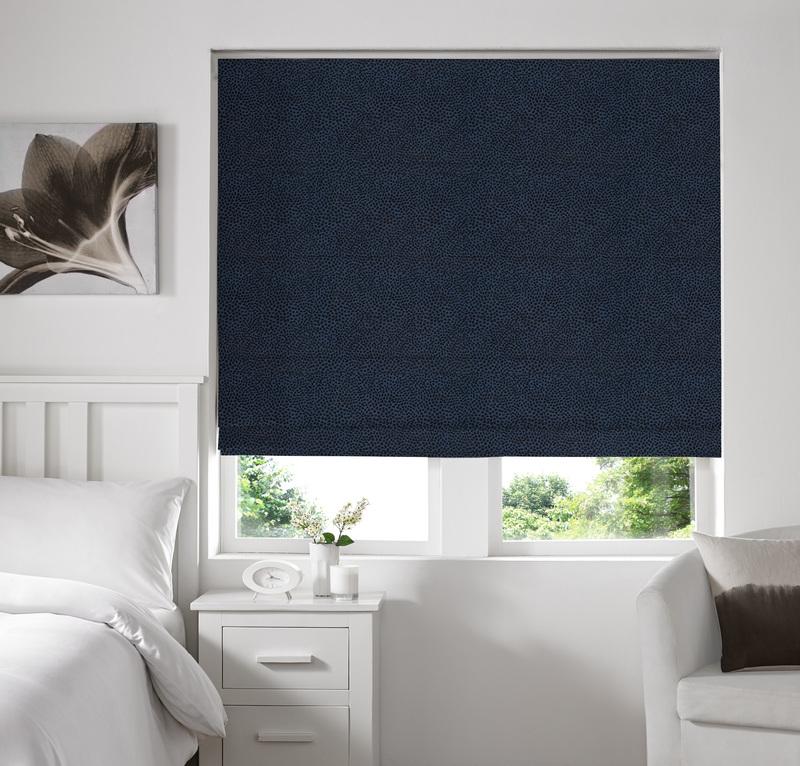 Melania Midnight Deco Roman blinds
