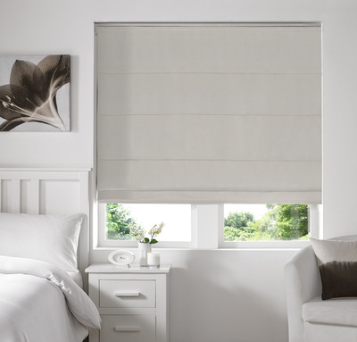 Melania Ivory Deco Roman blinds
