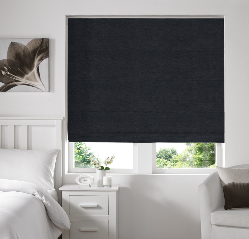 Rully Black Deco Roman blinds