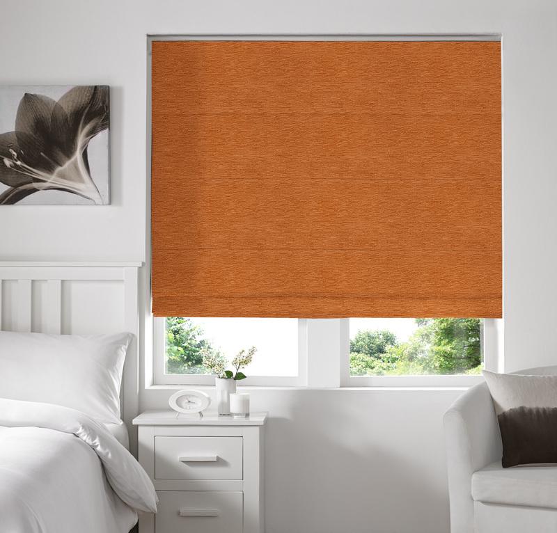 Rully Orange Deco Roman blinds