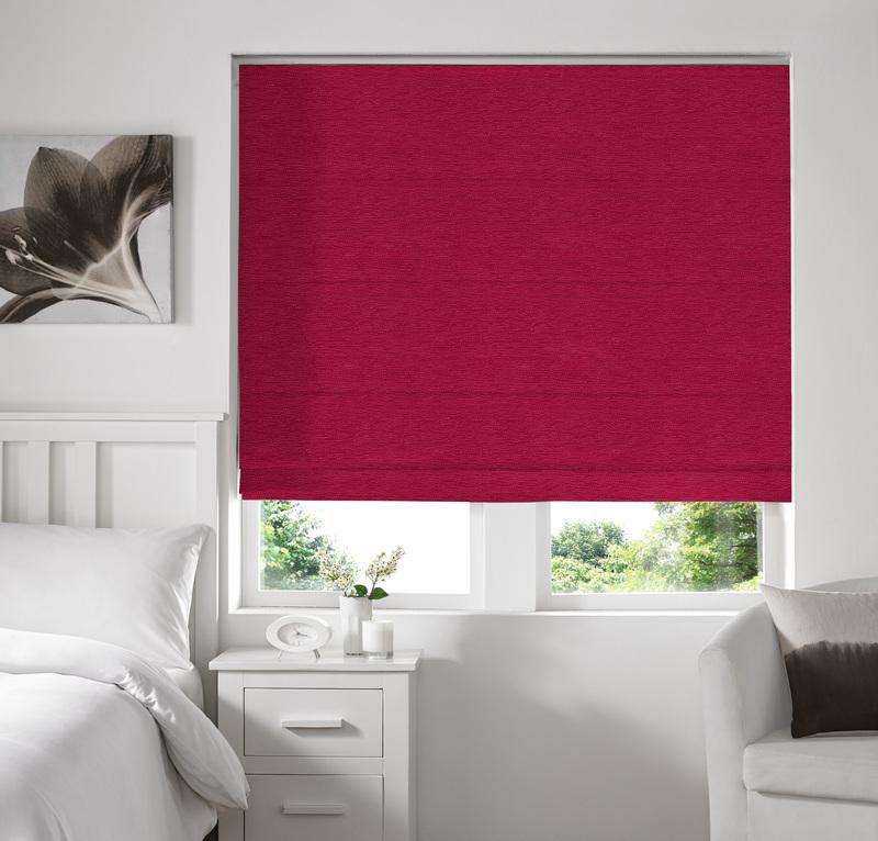 Rully Fuchsia Deco Roman blinds