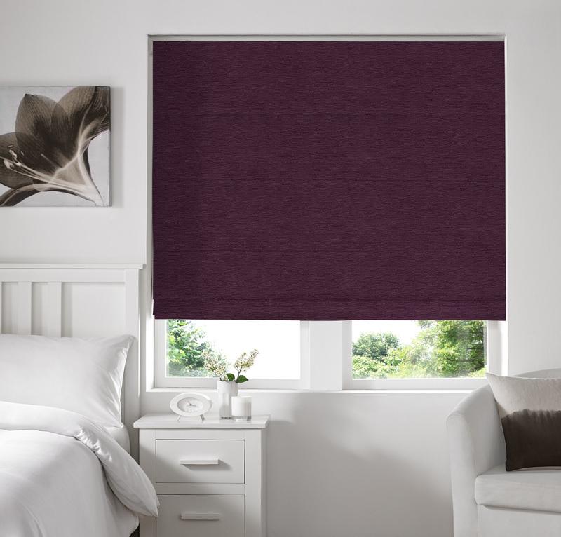 Rully Aubergine Deco Roman blinds