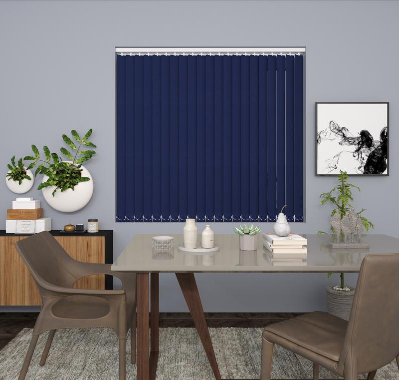 Claire Dark Blue Deco Vertical Blinds 89mm