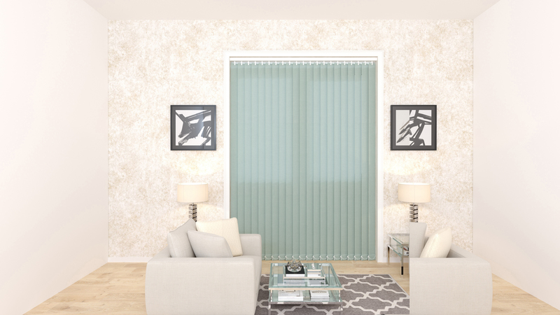 Emma Duck Egg Deco Vertical Blinds 89mm